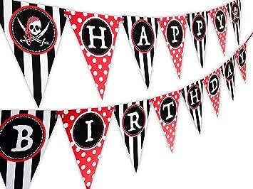 Amazon.com: Pirata Feliz cumpleaños Banner Pennant: Toys & Games