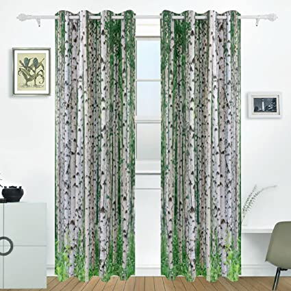 JSTEL Birch Tree Curtains Drapes Panels Darkening Blackout Grommet Room  Divider For Patio Window Sliding Glass