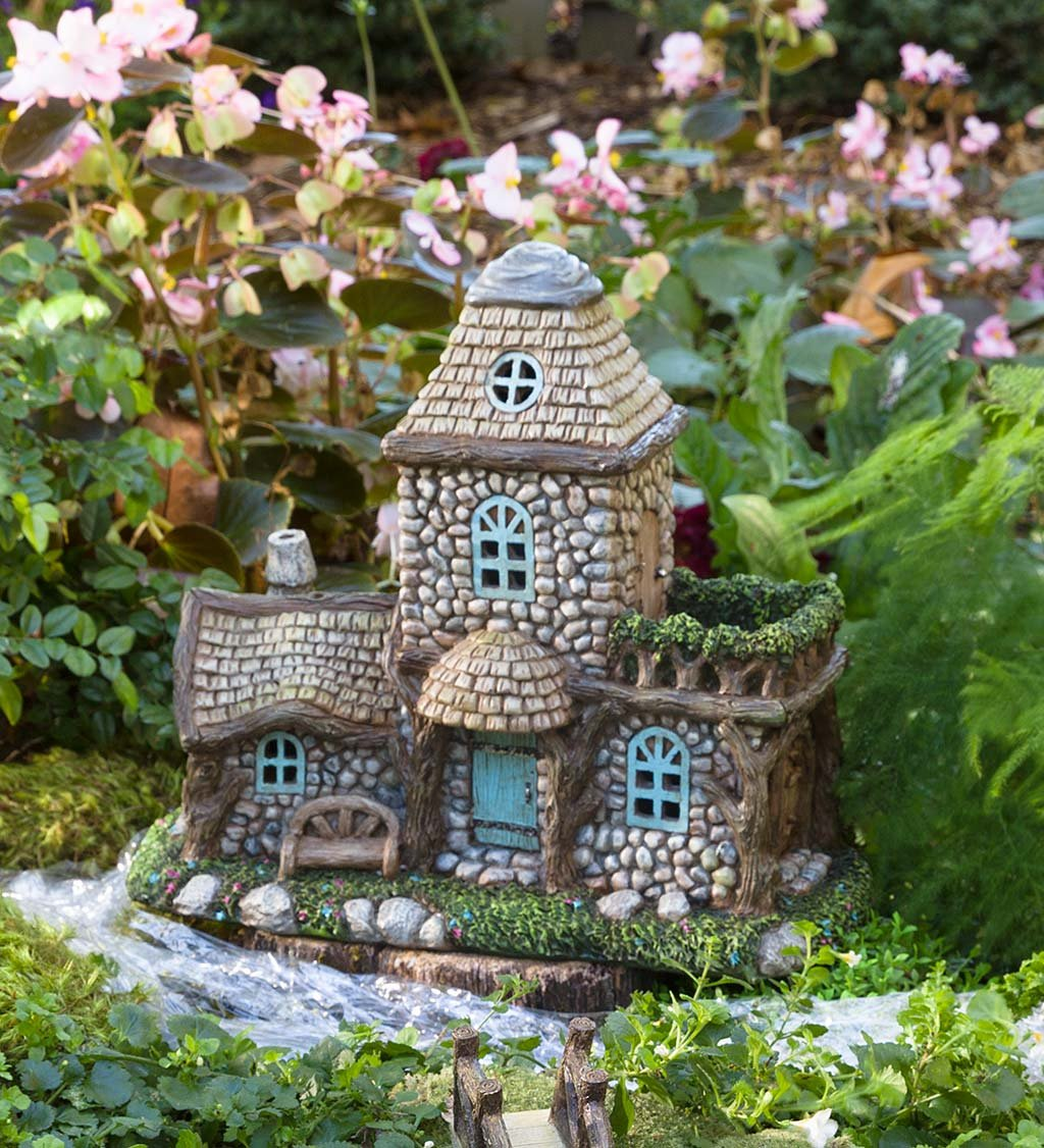 Plow & Hearth Miniature Fairy Garden Lighted Stone Fairy House Decorative Accessory, Battery Operated with Auto Timer, 12.5 L x 6 W x 10.75 H