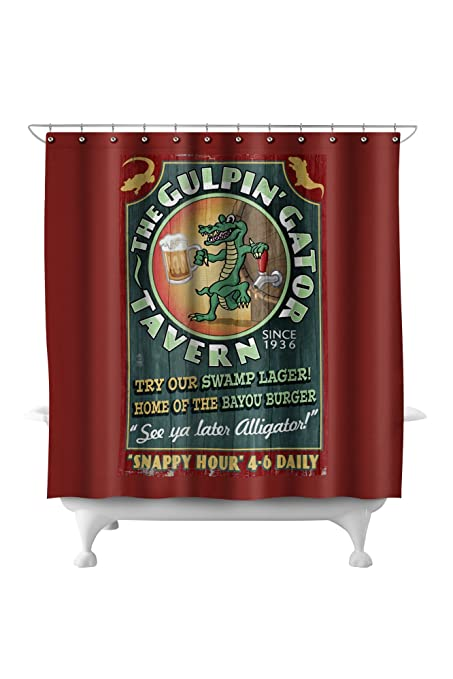 The Gulpin Gator Tavern - Vintage Sign (71x74 Polyester Shower Curtain)