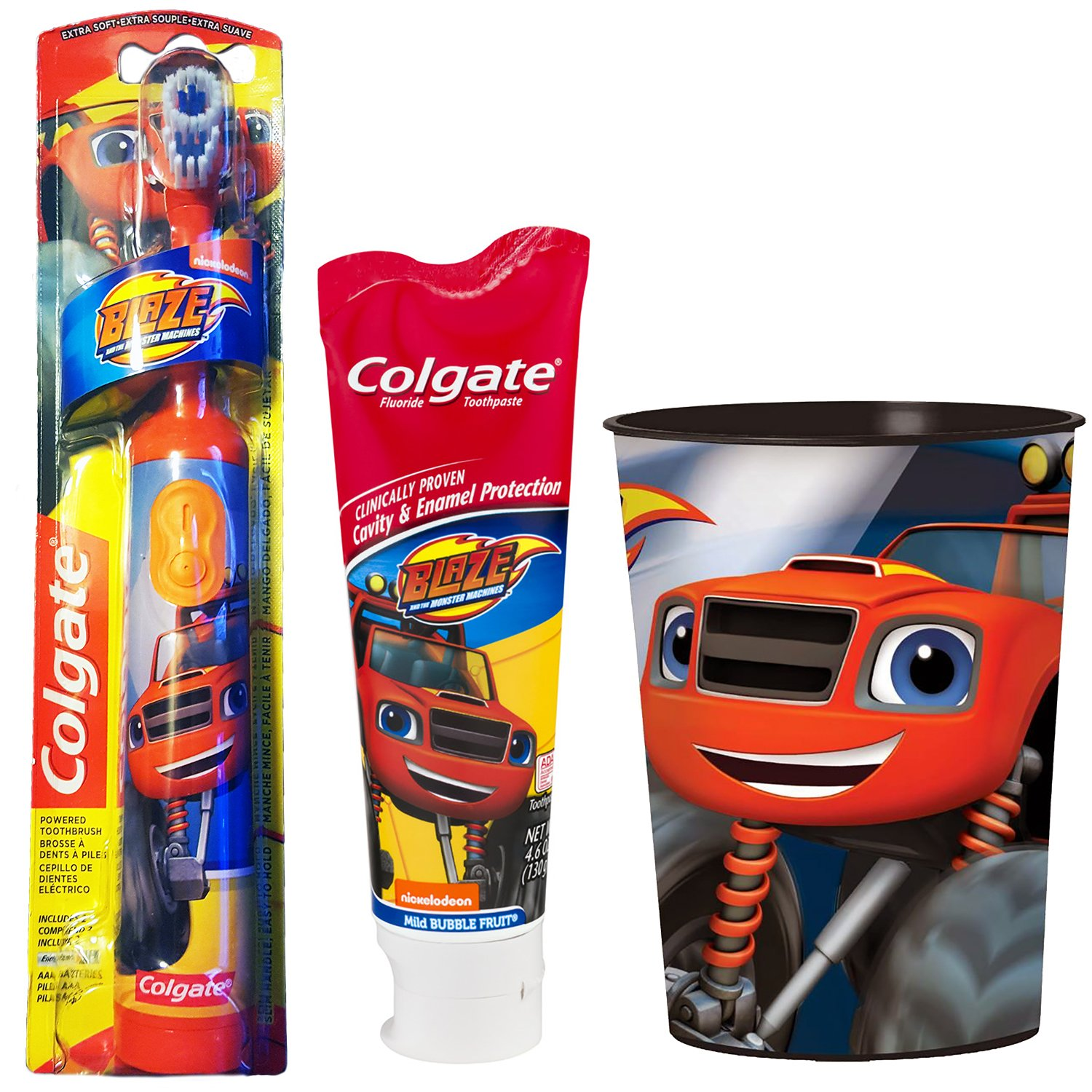 Amazon.com: Blaze And The Monster Machines Toothbrush & Toothpaste Bundle: 3 Items - Powered Toothbrush, Mild Bubble Fruit Toothpaste, Kids Character Rinse ...