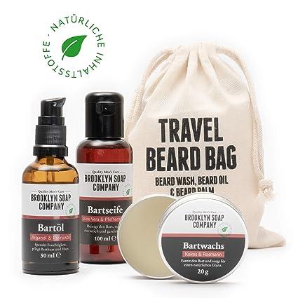 kit cuidado de barba: Travel Bag ✓ consiste en champú, aceite y bálsamo para