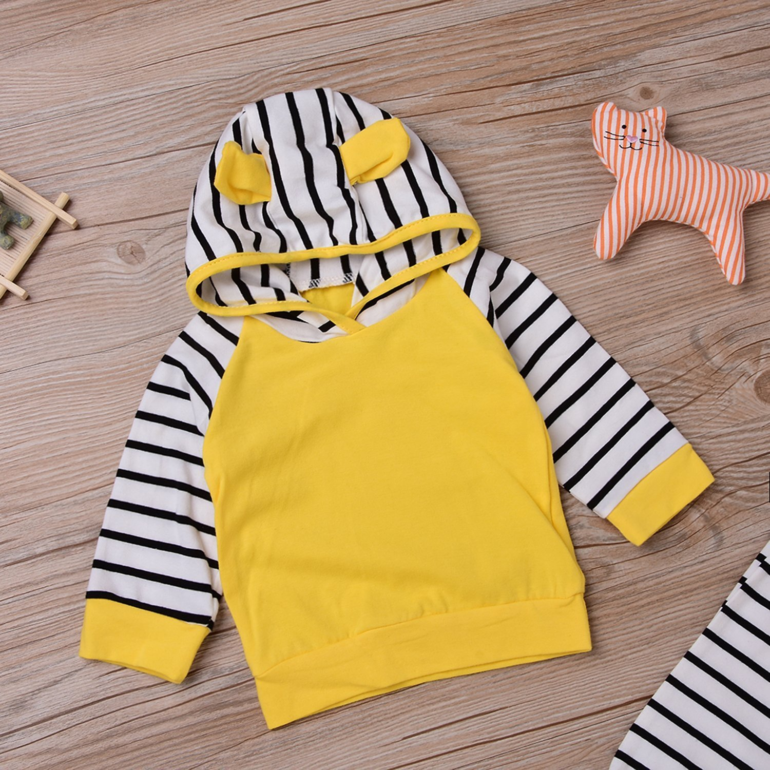 Zefeng Baby Girls Boys Long Sleeve Yellow Hooded Tops + Leggings Trousers Outfits Set Clothes (6-12months)