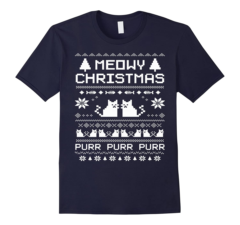Womens Meowy Christmas Tshirt Medium-Samdetee