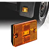 Amber LED Side Marker Light [DOT Certified] [IP67 Waterproof] [ Integrated Reflector] for Utility Boat Trailers Over 80…