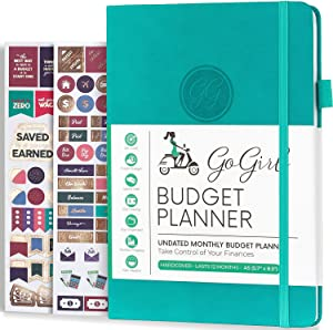 """GoGirl Budget Planner - Monthly Financial Planner Organizer Budget Book. Expense Tracker Notebook Journal to Control Your Money. Undated - Start Any Time, A5-5.7"""" x 8.5"""", Lasts 1 Year - Turquoise"""