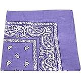 PURPLE cotton bandana scarf SQUARE BLACK WHITE PAISLEY by TC-Accessories