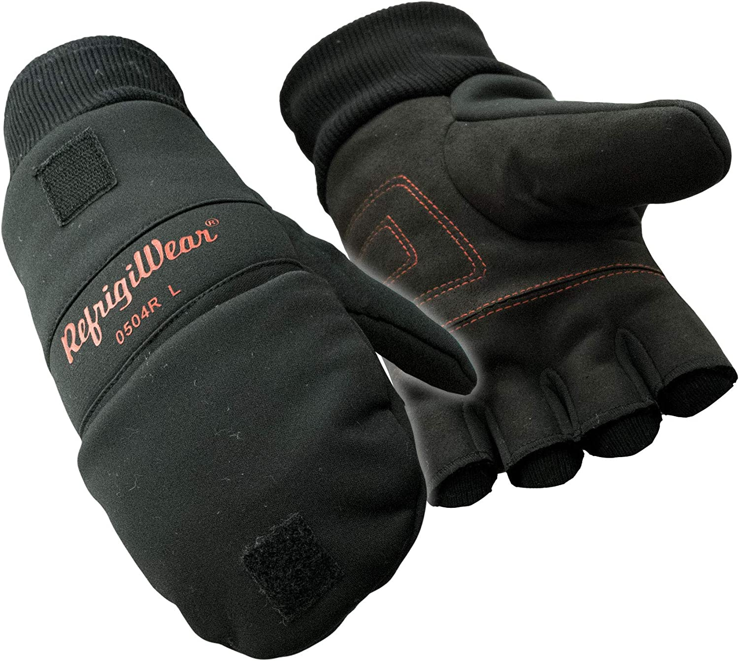 RefrigiWear Fleece Lined Fiberfill Insulated Softshell Convertible Mitten Gloves at  Men's Clothing store