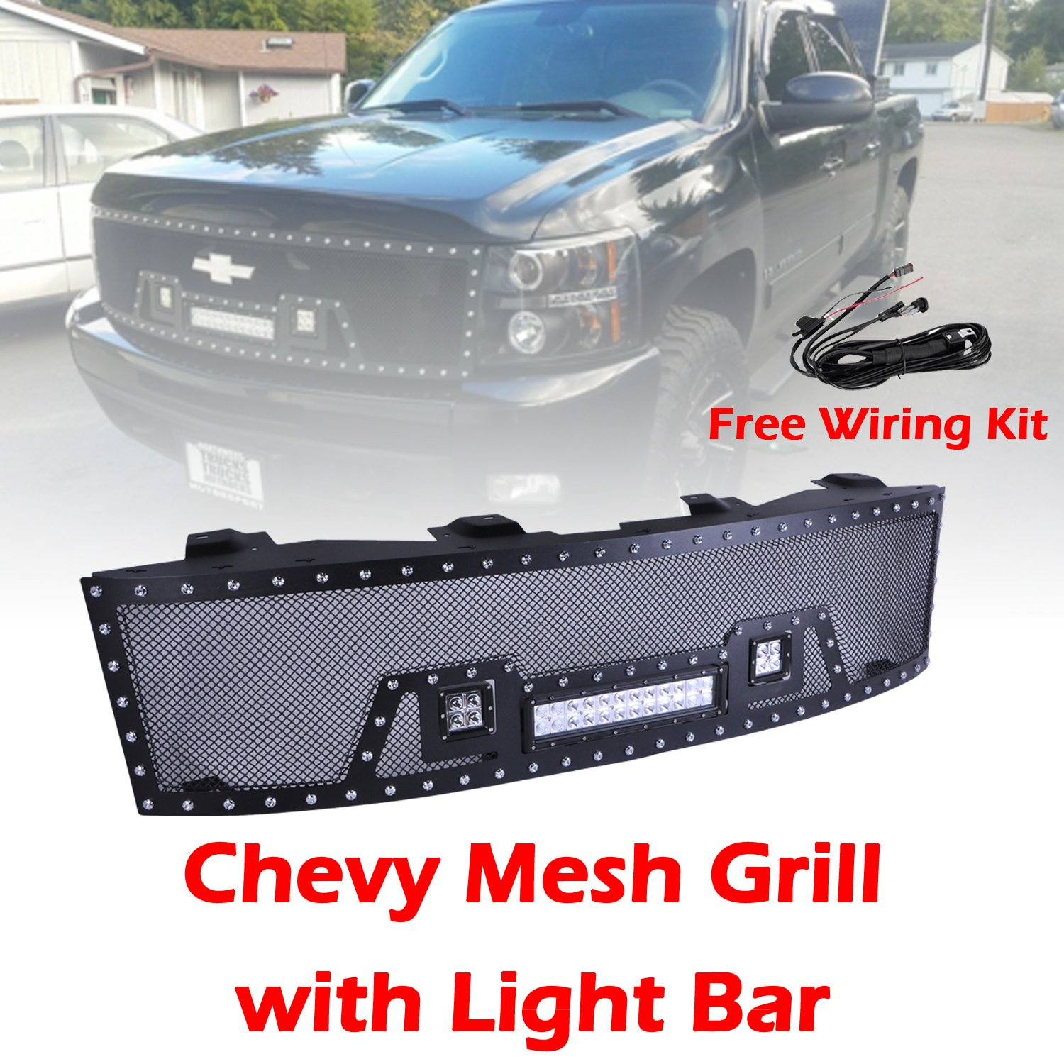 Ohmu Chevrolet Chevy Silverado Front Mesh Grill Grille Wiring Lights Nz For 2007 2013 1500 Pick Up Truck With 72w Led Cree Work Light Bar 16w Free