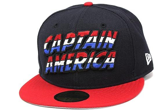 b637e52f77c Captain America Liberty Navy Blue Battle Red Custom Marvel Comics New Era  Fitted Cap (7