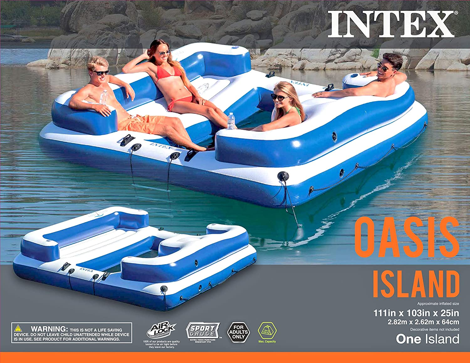 Amazon.com: Intex Oasis Isla, inflable flotante Agua Lounge ...