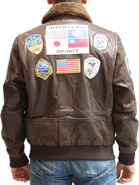 A to Z Leather Badges en Cuir Marron pour Homme Blouson aviateur Top Gun Style Maverick avec col en Peau de Mouton. Vintage Marron