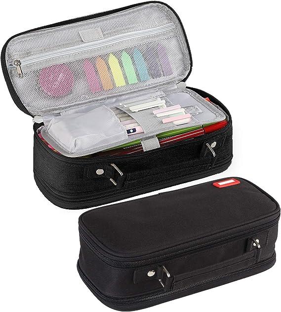JARLINK - Estuche para lápices de gran capacidad, multiusos, plegable, con 4 cremalleras metálicas, bolsa para suministros de oficina, cosméticos, accesorios de viaje: Amazon.es: Hogar