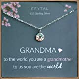 EFYTAL Grandma Gifts, 925 Sterling Silver Compass Necklace for Grandmother, Necklaces for Women, Best Birthday Gift Ideas, Pendant Jewelry for Her, Mothers Day