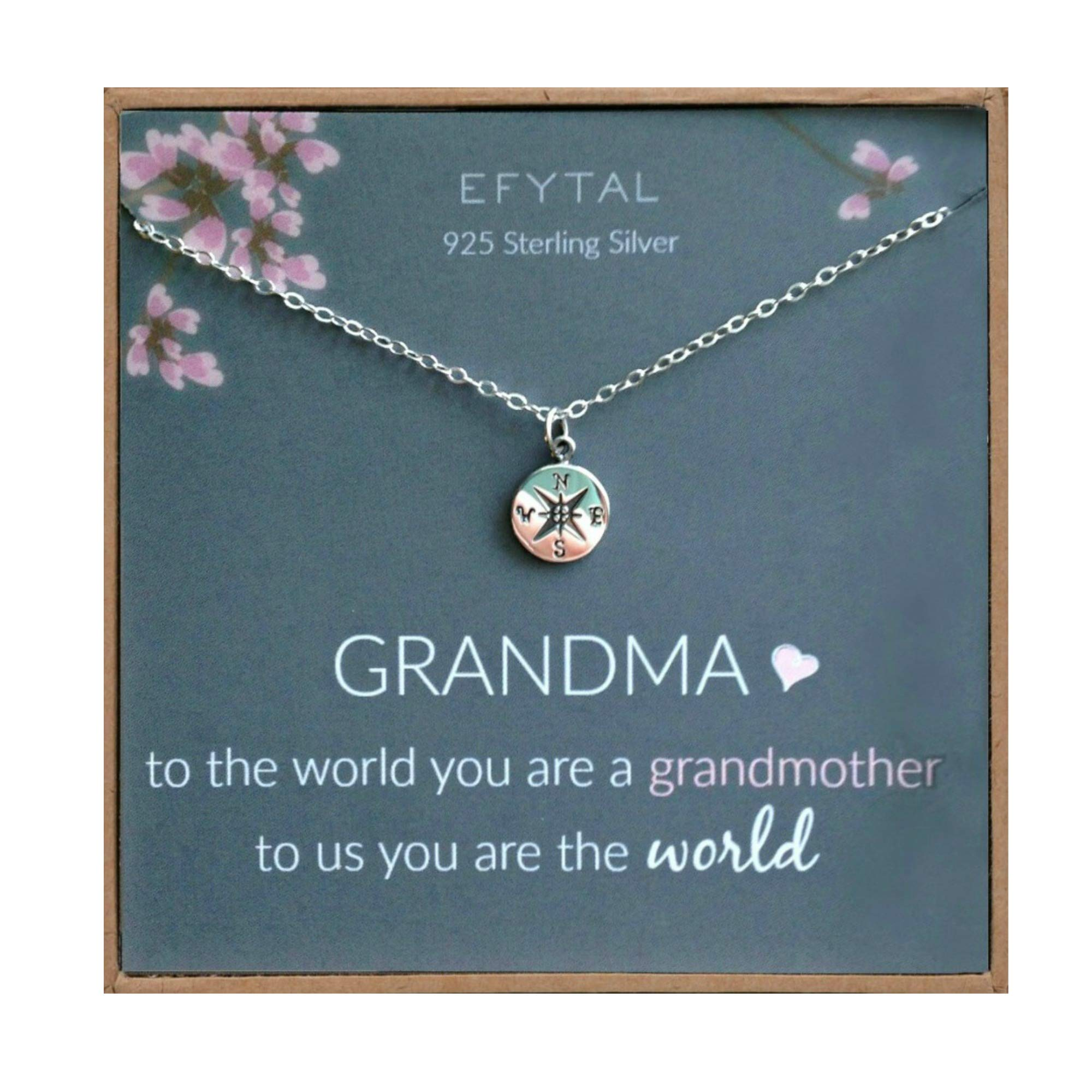 EFYTAL Mothers Day Grandma Gifts, 925 Sterling Silver Compass Necklace for Grandmother, Necklaces for Women, Best Birthday Gift Ideas, Pendant Jewelry For Her