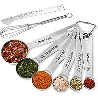 ERKOON 8 pack Cucharas de medición de acero inoxidable, especias de medición e ingredientes líquidos para cocinar y…
