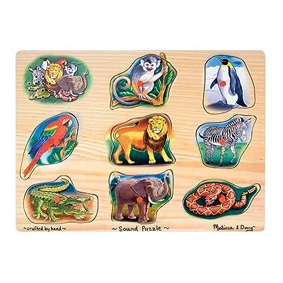 Melissa & Doug Zoo Sound Puzzle - Wooden Peg Puzzle With Sound Effects (8 pcs): Melissa & Doug: Toys & Games