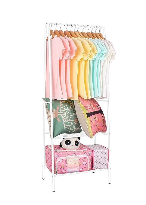 Lyndan - blanco plegable armario armario ropa accesorio de Metal con recubrimiento de polvo portátil ropa Rail ...