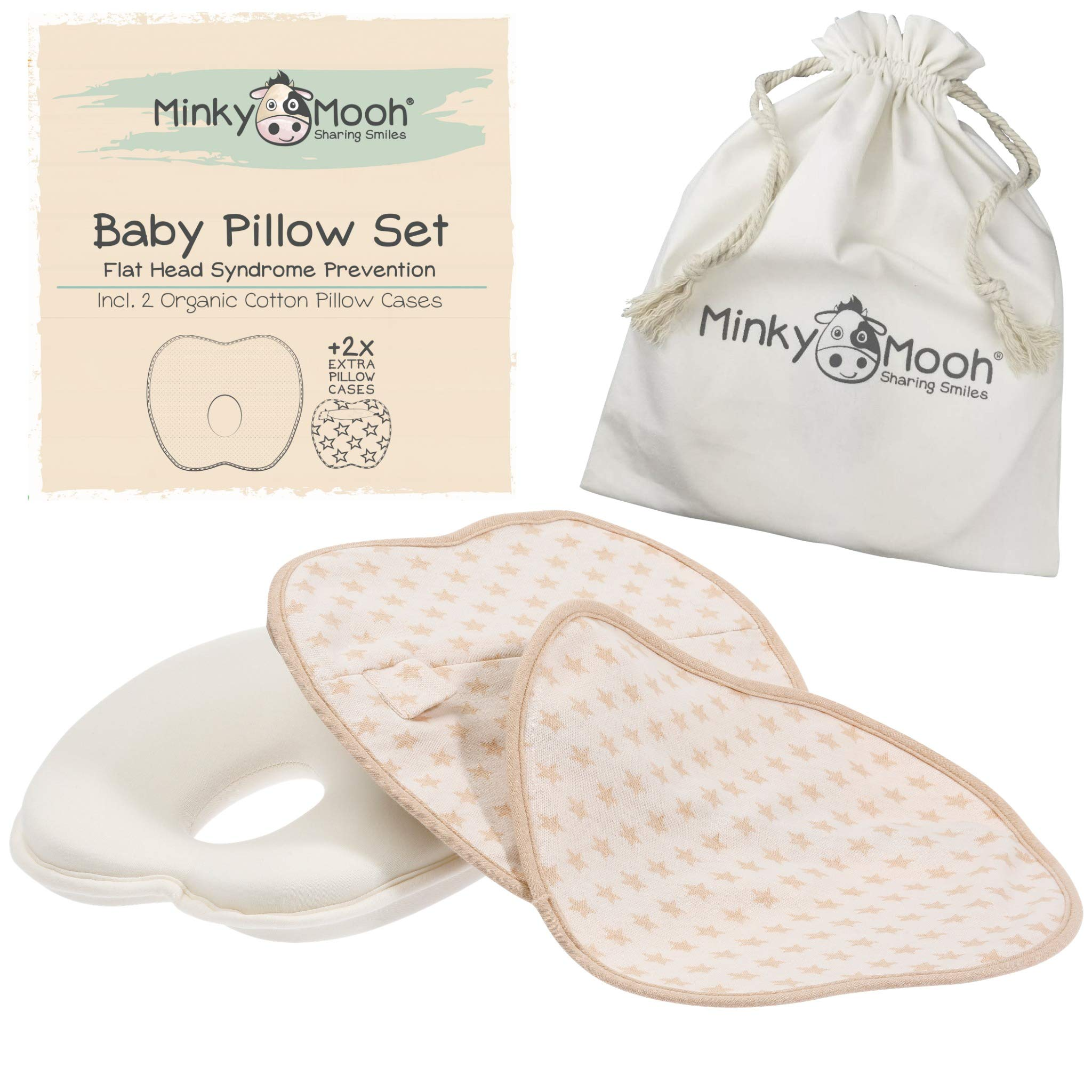 Baby Pillow Set to Prevent Flat Head - 2 Organic Cotton Cases | Reduces Plagiocephaly + Supports Newborn & Infant Natural Head Shaping (Brown Stars, Gift Carton) by Minky Mooh