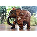 Collectible India Wooden Elephant Statue Mother Baby Figurine Hand Painted Sculpture