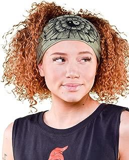 product image for Soul Flower Women's Yin Yang Flower Boho Headband, Sage Green Organic Cotton Stretchy Wide Half Bandeau Accessory