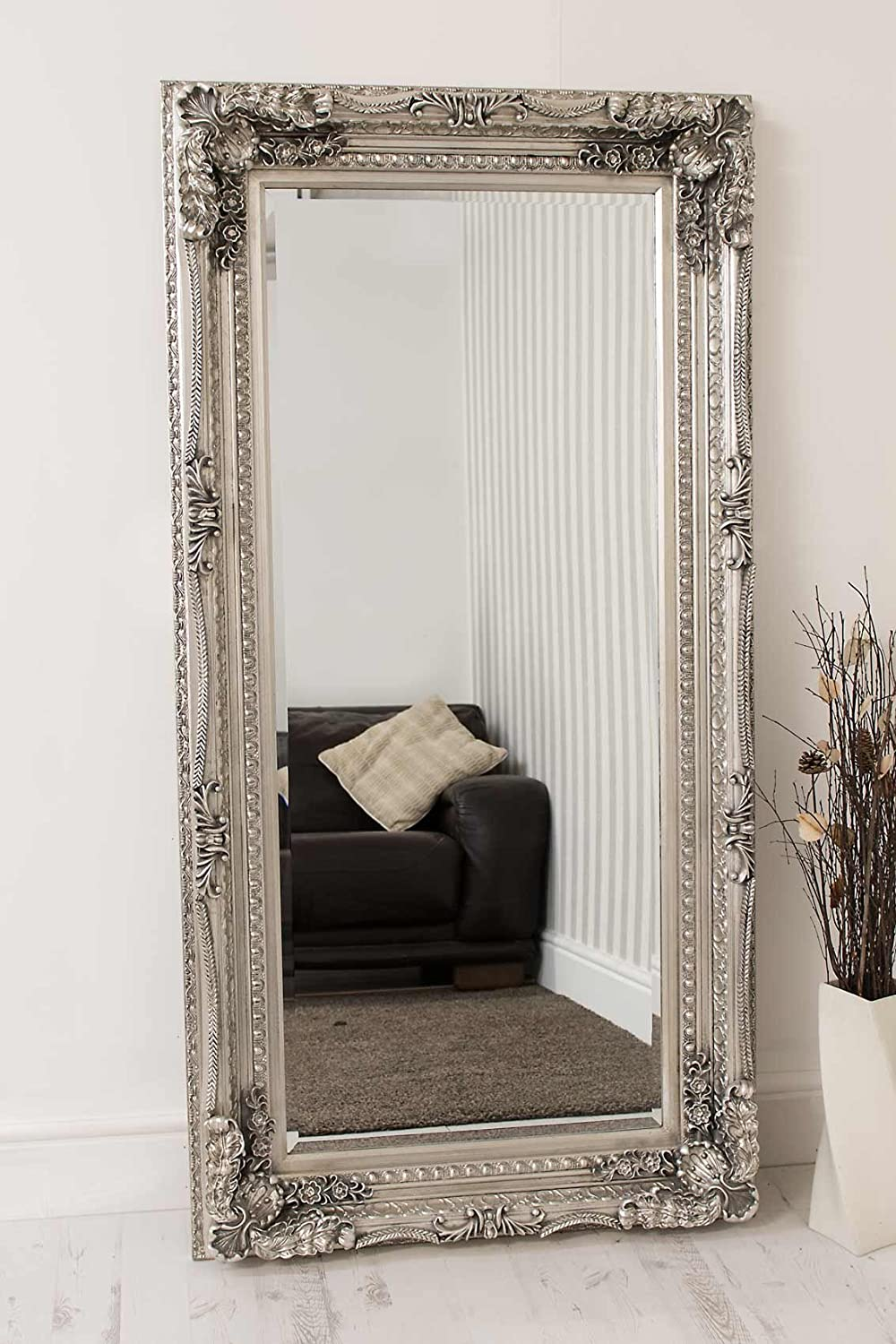 King louis leaner wall mirror silver 7ft x 3ft ebay for Leaner mirror