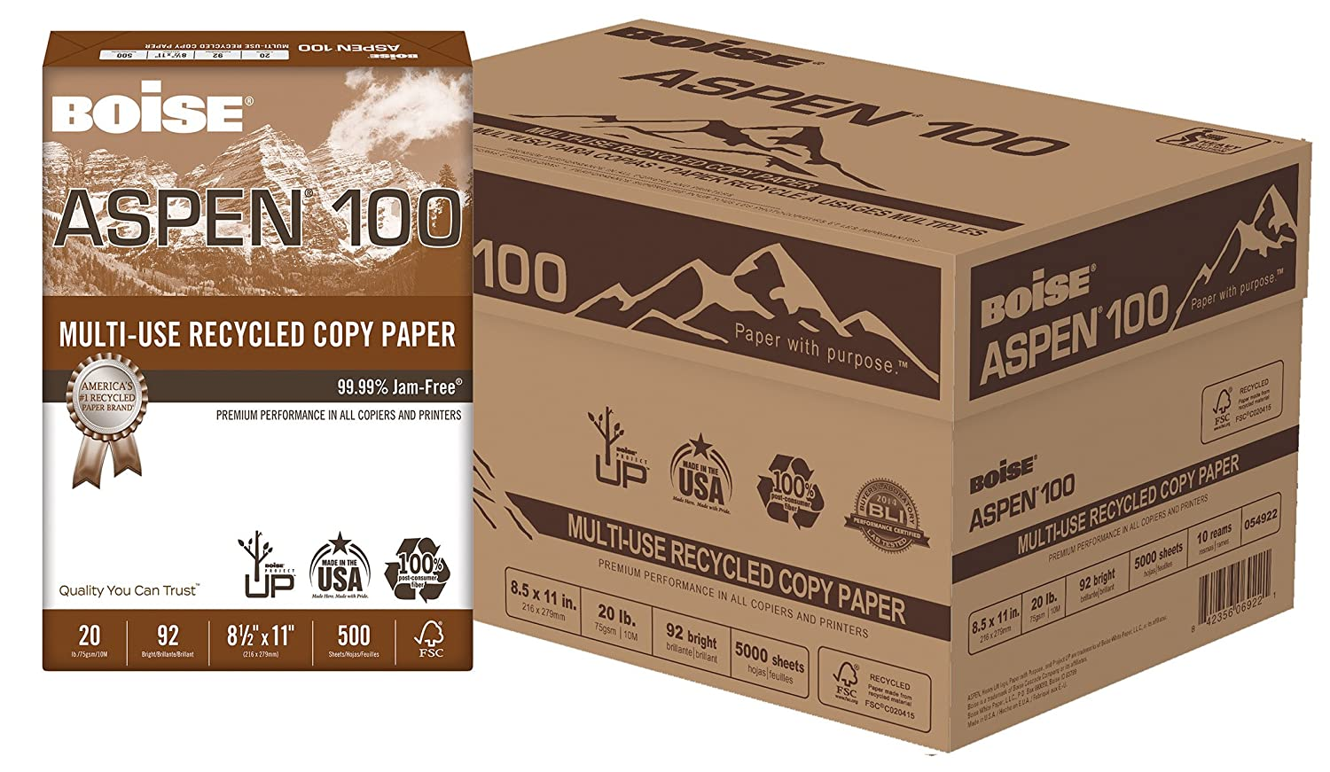 BOISE ASPEN 100% Multi-Use Recycled Copy Paper, 8.5 x 11, 92 Bright White, 20 lb, 10 ream carton (5,000 Sheets) Boise Paper 054922-CTN