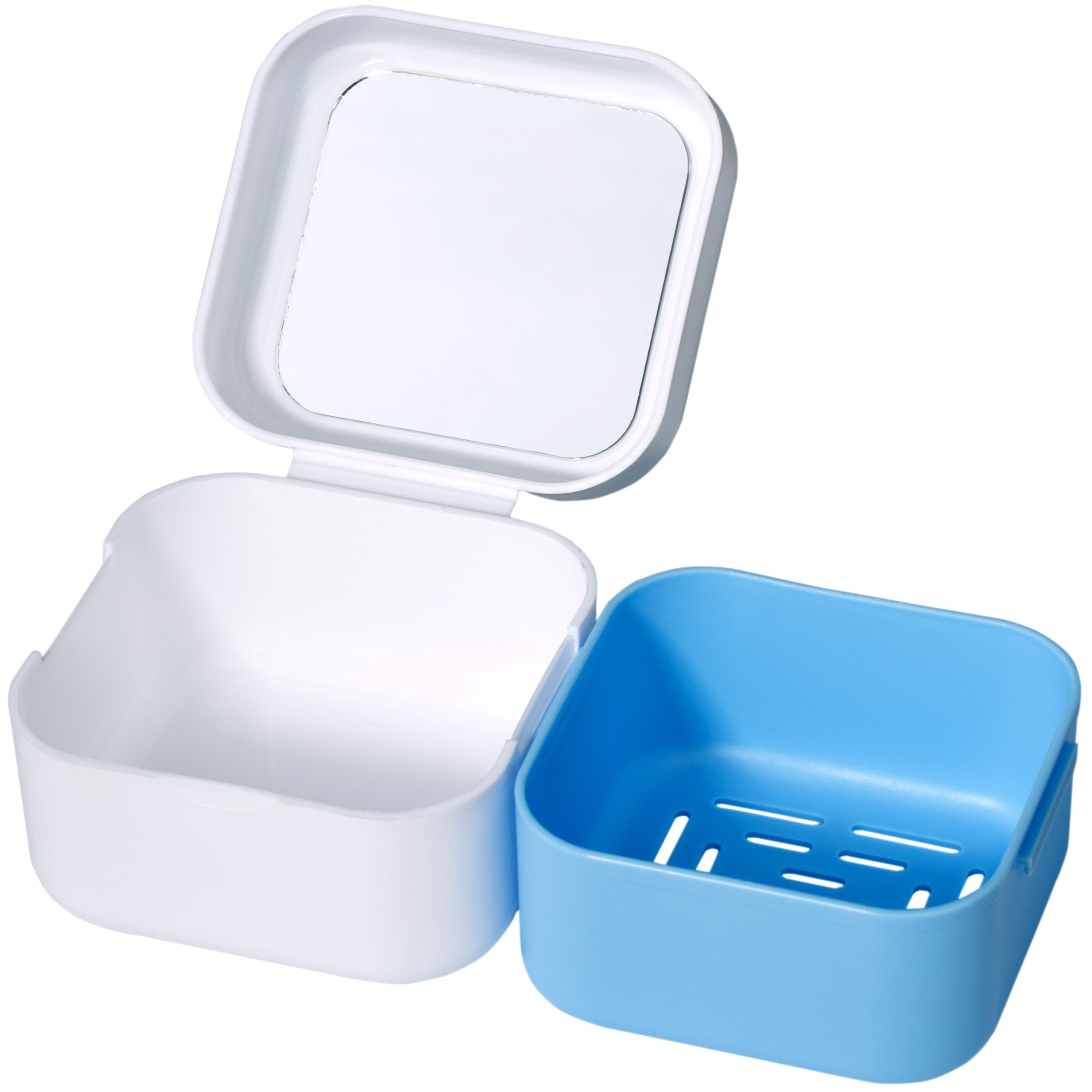 Denture Case with Strainer - Medokare Denture Cup with Lid and Mirror, Dentures Box, Dental Retainer Container, Denture Bath Cleaning Soaking Cup, Mouth Guard Night Gum Shield Travel Storage Case