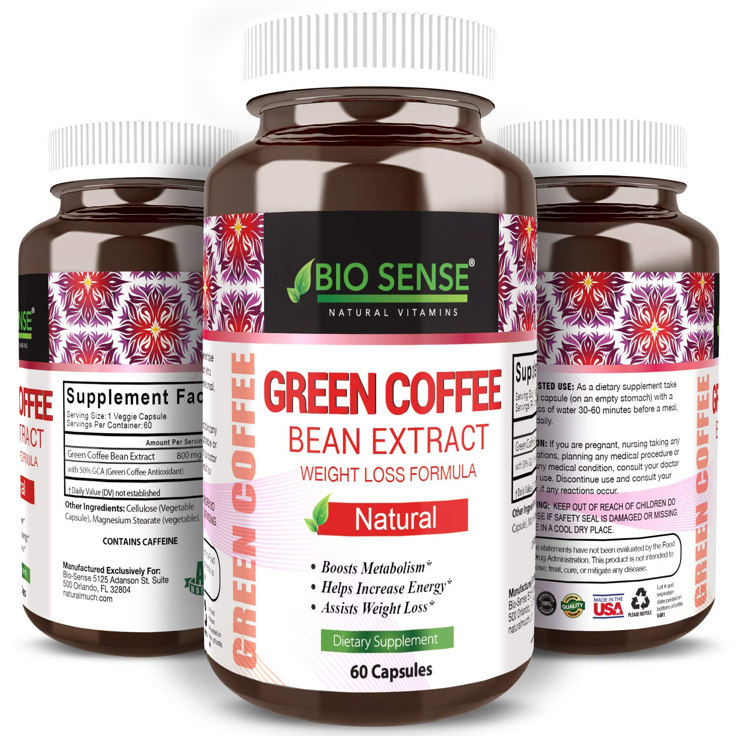 Bio Sense Best Pure Green Coffee Bean Weight Loss Supplement Extra Strength Fat Burner Formula for Women and Men Pure Diet Pills 800 mg Extract with GCA Metabolism Booster 60 Capsules