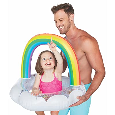 BigMouth Inc Lil' Water Float - Pool Float for Infants and Kids Ages 1-3, Perfect for Beginner Swimmers, Easy to Inflate and Durable (Happy Rainbow)