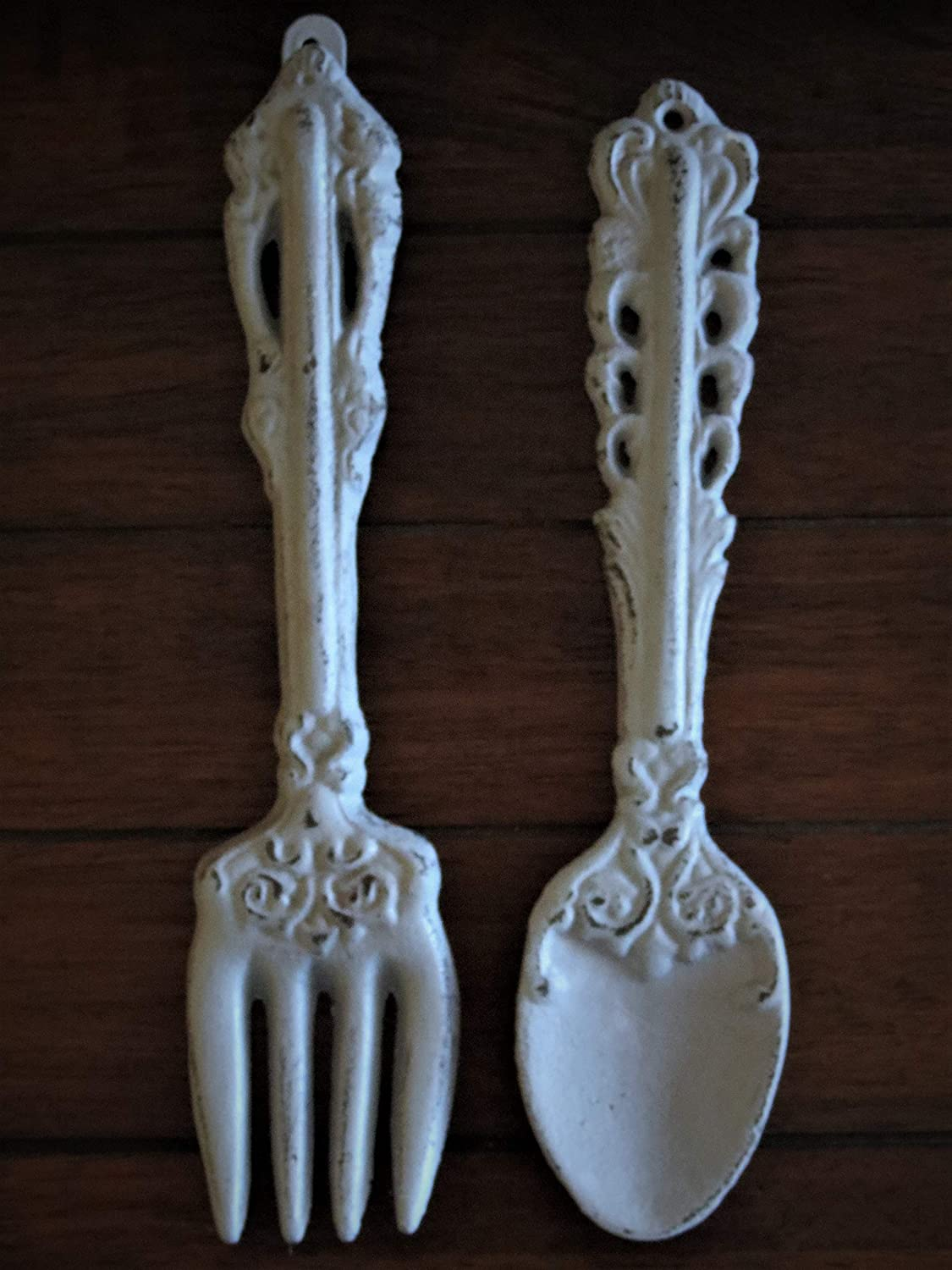 Fork and Spoon Wall Hanging, Light Grey Or Pick from over 40 Colors, Rustic Country Kitchen, Dining Room Wall Décor, Cast Iron Utensil Set