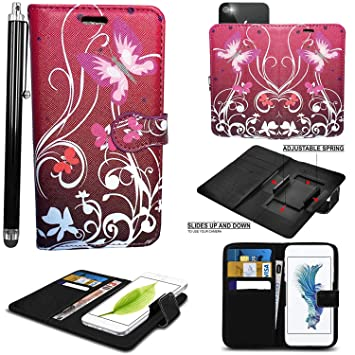 timeless design d3ca5 8b513 Mobile Stuff case for Argos 5 Inch cover pouch Leather Hold it Spring Clamp  Clip on Adjustable Book + Stylus Pen (Argos Alba 5 Inch, Butterfly Purple  ...