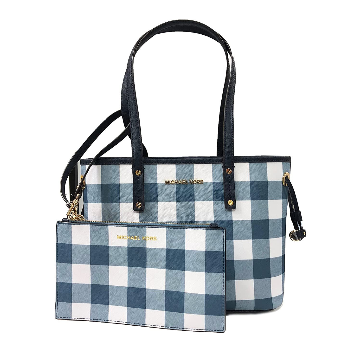 f8a48d82580240 Amazon.com: Michael Kors Jet Set Travel Plaid SM Drawstring Tote W/Wristlet  Navy (35T8GTVT1R): Shoes