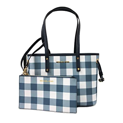9f61271f73ddf8 Amazon.com: Michael Kors Jet Set Travel Plaid SM Drawstring Tote W/Wristlet  Navy (35T8GTVT1R): Shoes