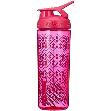 BlenderBottle SportMixer Signature Sleek Shaker Bottle, Geo Lace Pink, 28-Ounce