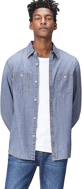find. Camisa Vaquera de Corte Estándar para Hombre, Azul (Light Vintage Wash), Large: Amazon.es: Ropa y accesorios