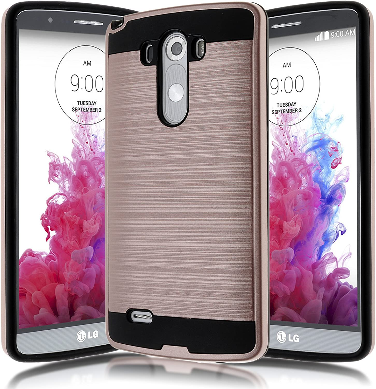 Kmall LG G3 D855 D851 Case, [Brushed Metal Texture] Heavy Duty Shockproof High Impact Resistant Durable Full Body [Maximum Drop Protection][Slim Fit] Hybrid Case Skin Cover Shell for LG G3[Rose Gold]