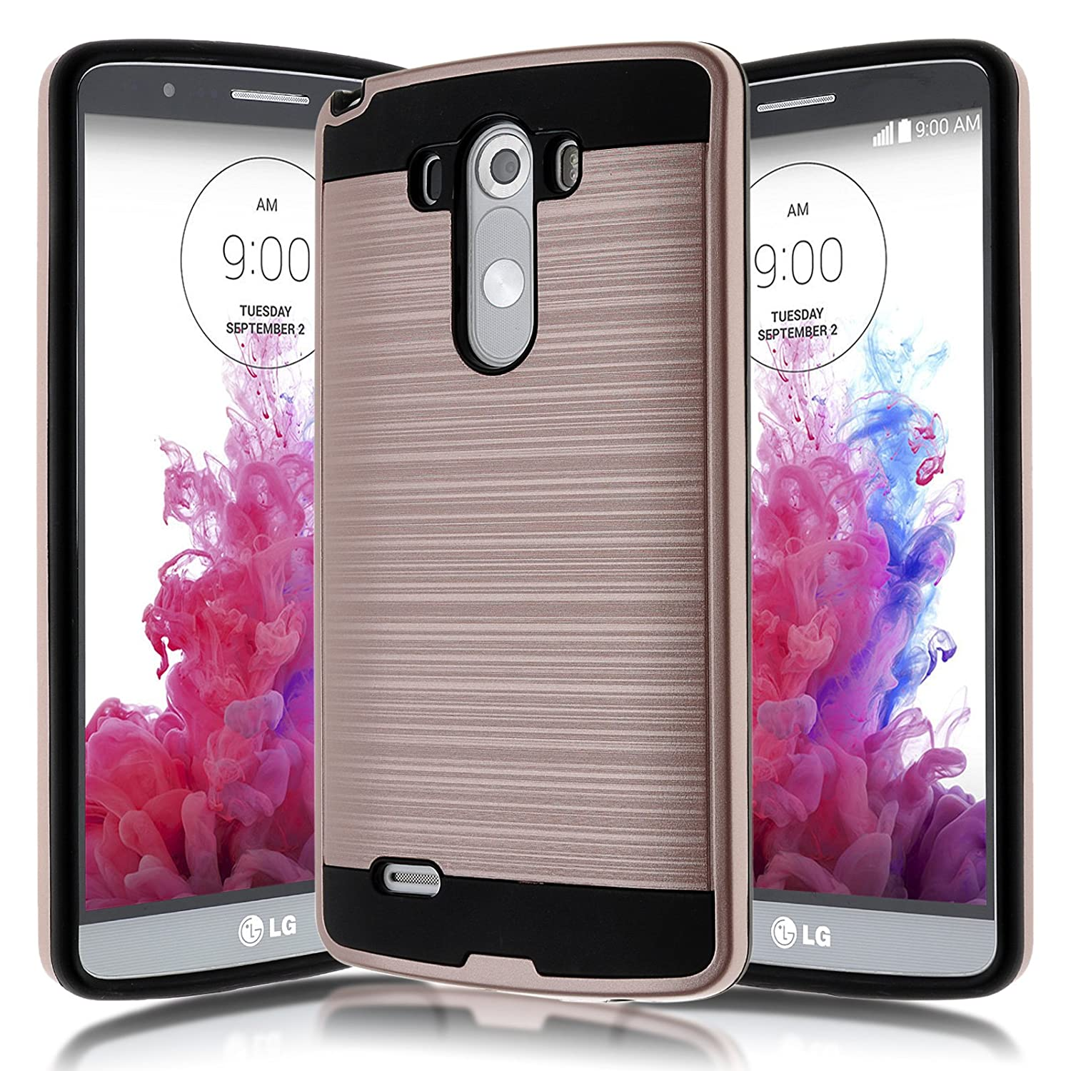 LG G3 D855 D851 Case,Kmall [Brushed Metal Texture] Heavy Duty Shockproof High Impact Resistant Durable Full Body [Maximum Drop Protection][Slim Fit] Hybrid Case Skin Cover Shell for LG G3[Rose Gold]