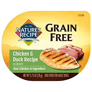 Nature's Recipe Grain Free Wet Dog Food, Chicken & Duck in Broth Recipe, 2.75 Ounce Cup (Pack of 12), Easy to Digest