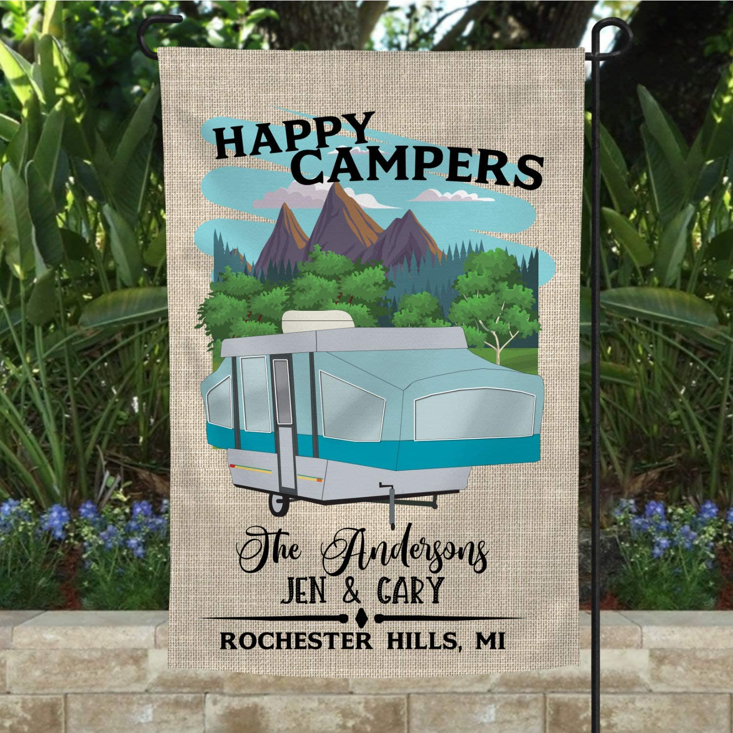 NicePodLLC Personalized Garden Flag-Happy Campers//Pop Up Camper/pop-up Camper/Camper Flag/Camper/Camping/Campsite Flag/Camper Decor/Camper Gift/Camping Gift/Flag