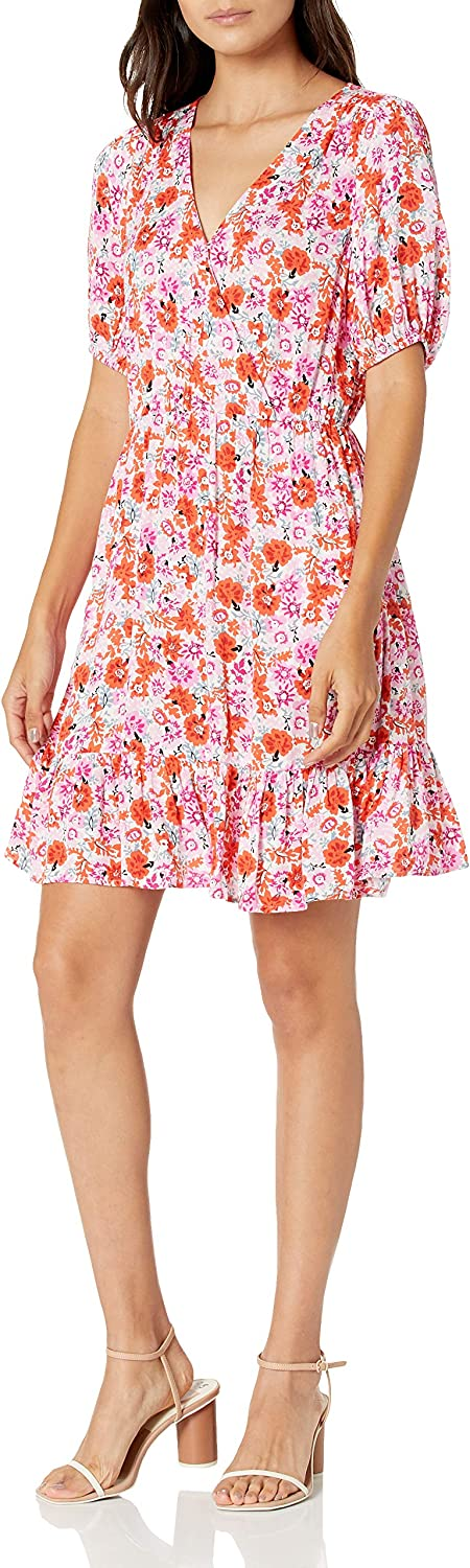 Lucky Brand Women's Short Sleeve V-Neck Ditsy Floral Mila Wrap Dress