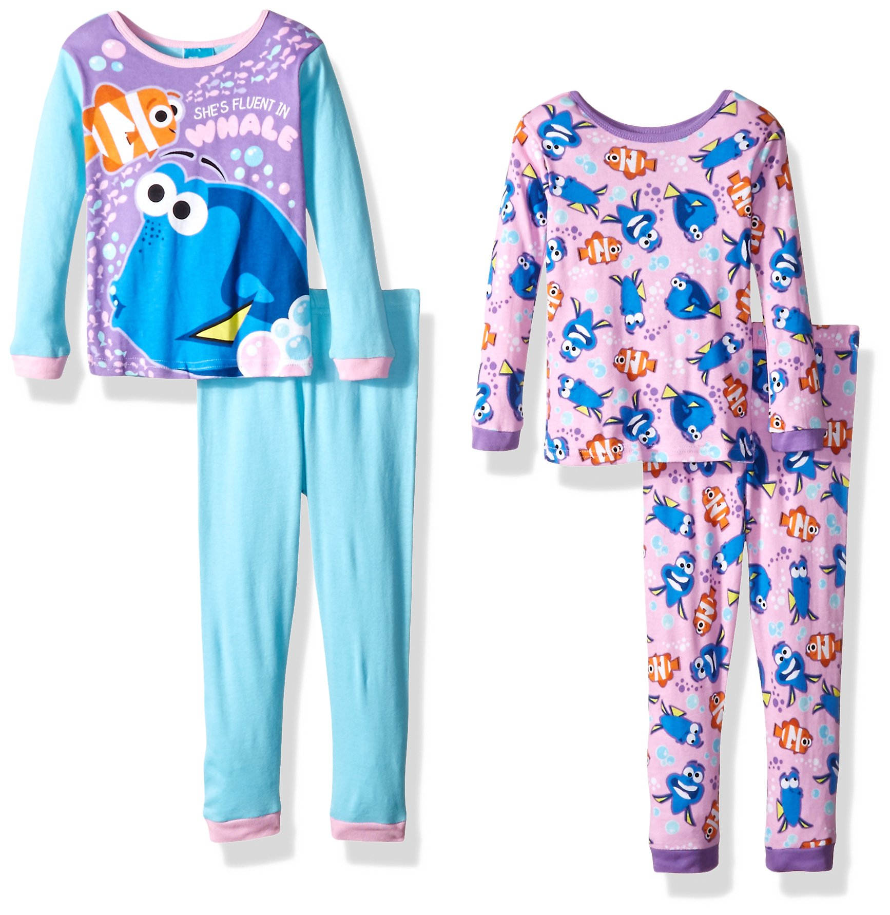 Disney Little Girls' Finding Dory 4-Piece Cotton Pajama Set, Pink, 4