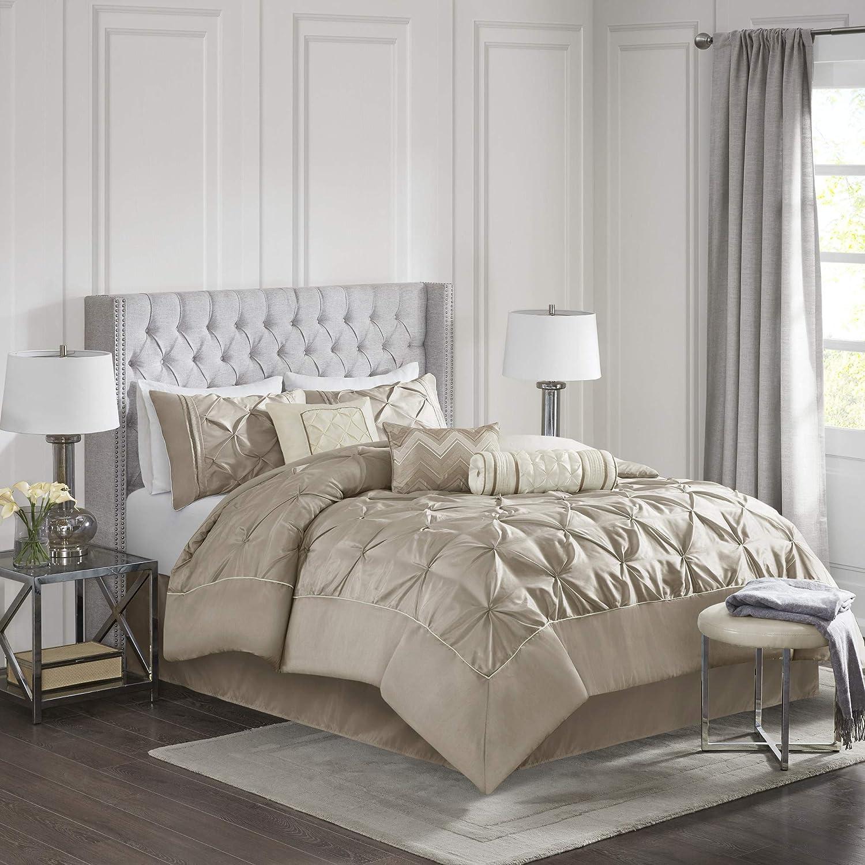 Madison Park Laurel 7 Piece Comforter Set-Mushroom-Cal.King, California King Taupe