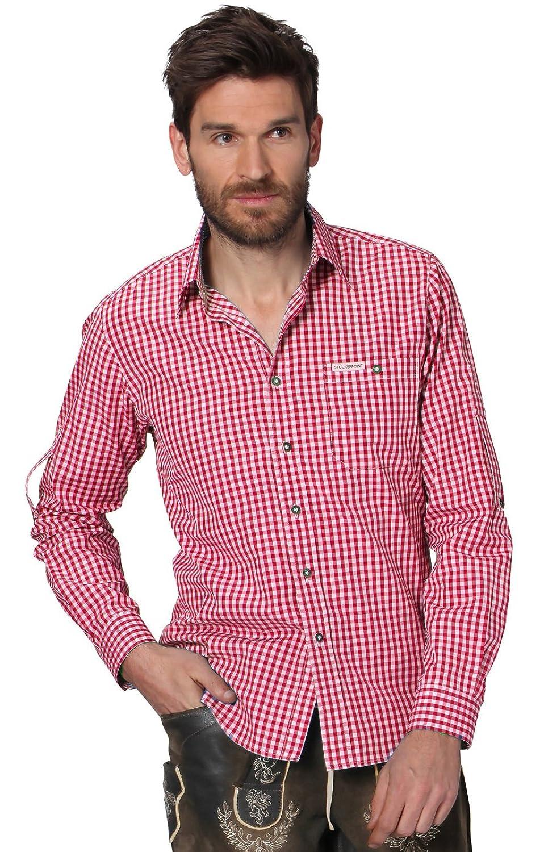 Trachtenhemd Campus2 - stilvolles, kariertes Hemd für viele Gelegenheiten, edles Hemd mit Klasse für Männer mit Modebewusstsein und einem Faible für ländliche Gebräuche in Rot