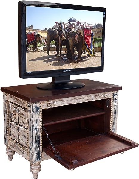 Guru-Shop Caja Pequeña Televisión de Plasma Antigua Mesa de Televisor en Blanco, Blanco Antiguo, 50x70x40 cm, Cómodas y Aparadores: Amazon.es: Hogar