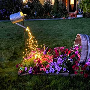 ZNYCYE 8 Modes Watering Can Lights,Solar Powered Firefly Bunch Lights 10 Strand 200 LED Waterproof Waterfall String Lights(No Watering Can) for Christmas Party Outdoor Decorations (Warm White)