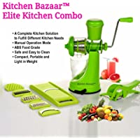Kitchen Bazaar™ Elite Kitchen Combo - Fruit & Vegetable Manual Juicer Mixer Grinder With Steel Handle, 6 In 1 Multi-Purpose Fruit & Vegetable Slicer & Multi Veg Cutter with Peeler - Chilly Cutter,Carrot ,Banana Cutter - Set of 3