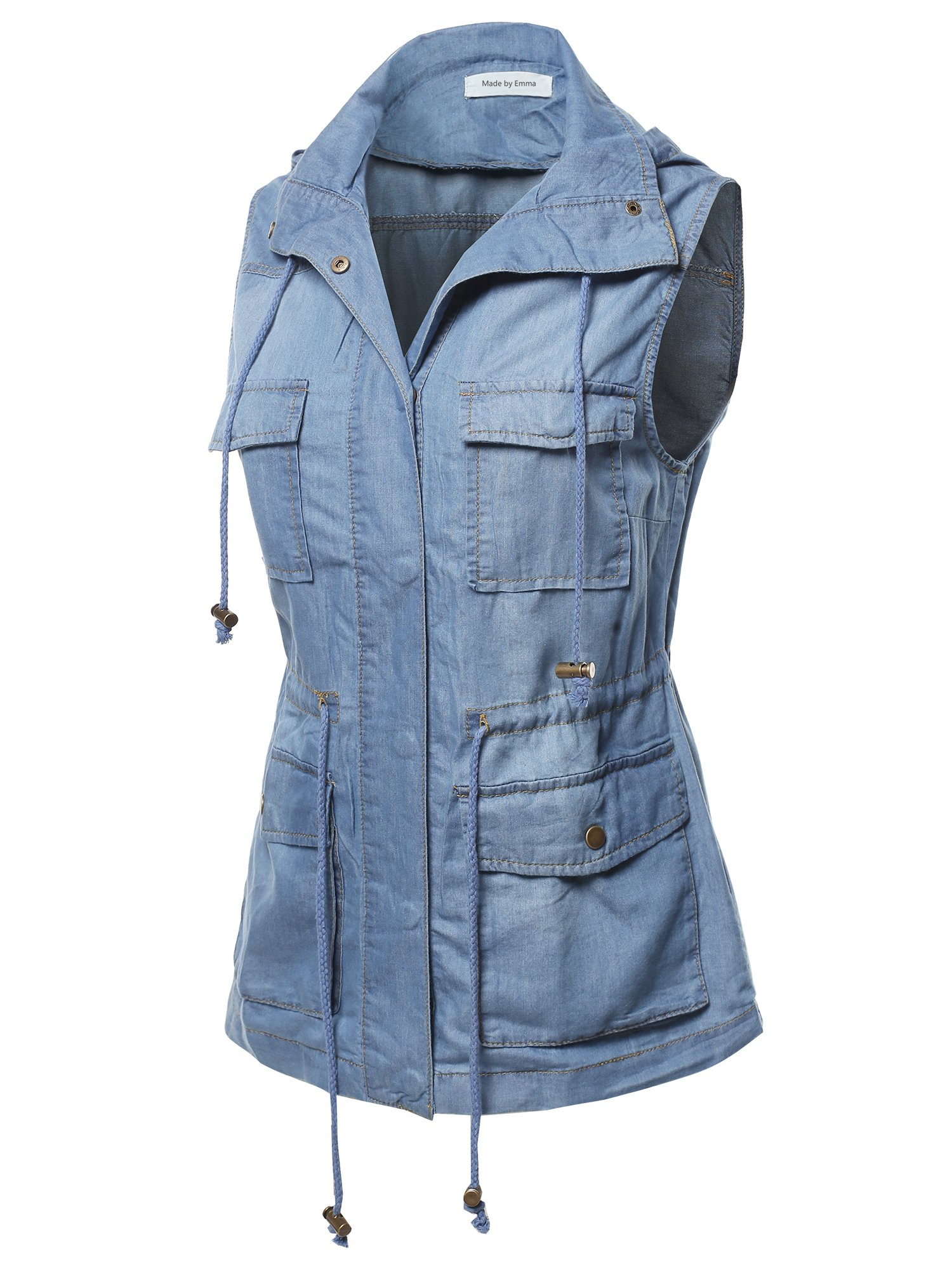 Made by Emma Casual Denim Sleeveless Military Safari Utility Drawstring Hoodie Vest S