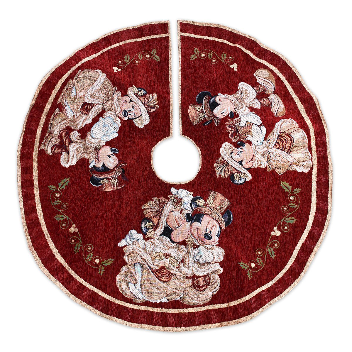 Disney Park Mickey Minnie Mouse Victorian Tapestry Christmas Holiday Tree Skirt by Disney Parks