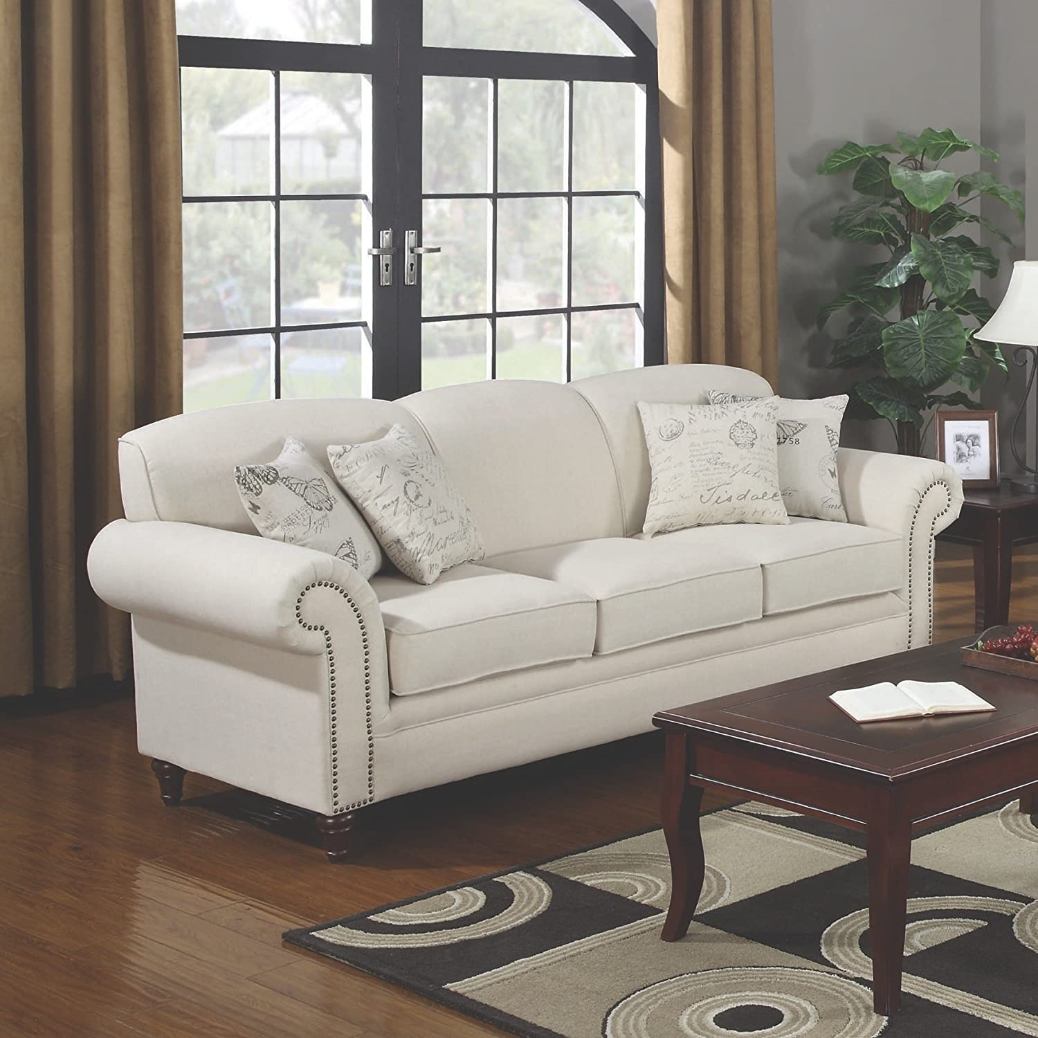 Amazon.com: Coaster Home Furnishings 501154 Traditional Sofa, Cream:  Kitchen U0026 Dining